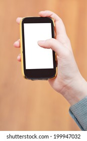 cut out screen of mobile phone in female hand