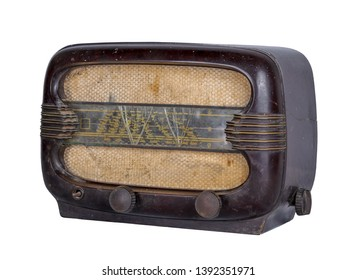 Cut Out Still Life Of  an Aged Analog Radio in Studio with White Background