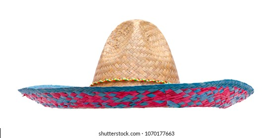 Cut Out Woven Fiesta Sombrero Isolated on White.