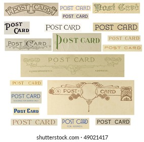 Cut outs of vintage post card labels