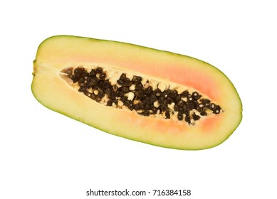 Cut Papaya Showing The Seeds Within