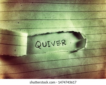 the cut paper design the word quiver written behinds