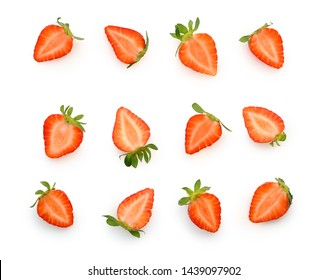 Cut to pieces berry strawberry isolated on white background