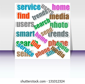 Cut pieces of paper with keywords on social media theme, raster