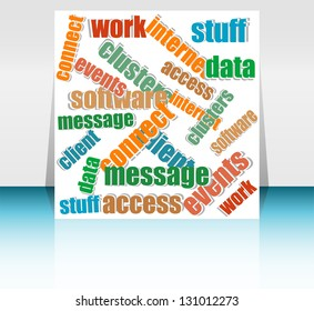 Cut pieces of paper with text keywords on social engine optimization theme, raster
