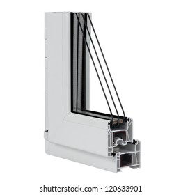 The cut plastic window profile on white background.