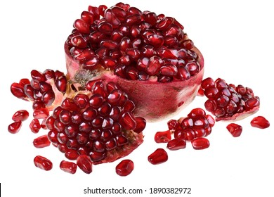 Cut the pomegranate with scattered grain isolated on white background.