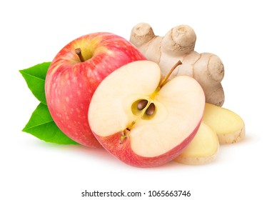 Cut red apple and ginger isolated on white background with clipping path