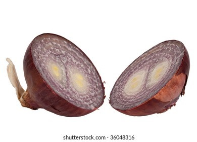 cut red onion, isolated on white background