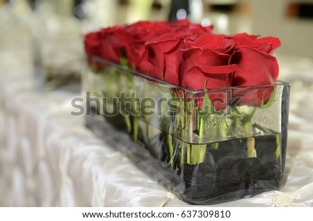 Cut Roses Glass Jar Wedding Decoration Stock Photo Edit Now