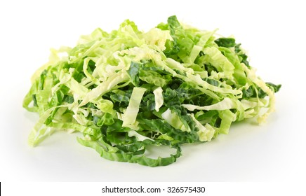 Cut savoy cabbage isolated on white