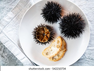 Cut sea urchins laid in the shell on a dish with bread.