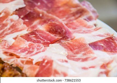 cut slices of ham (panish jamon iberico)