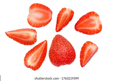 cut strawberries isolated on white background top view