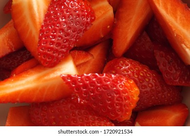Cut strawberries ready for fruitsalad