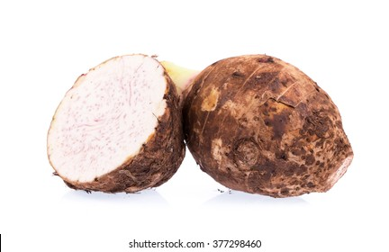 cut of taro isolated on white background