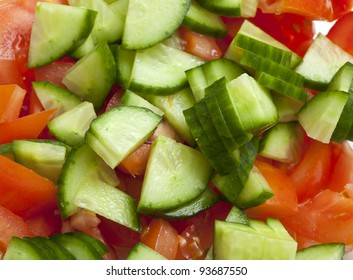 cut tomatoes and cucumbers