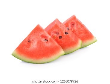 cut watermelon with seeds on white background