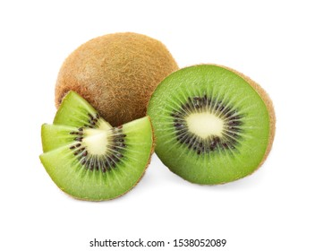 Cut and whole fresh kiwis on white background