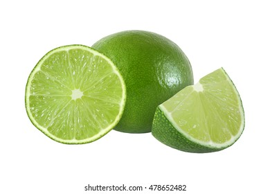 cut and whole lime fruits isolated on white background with clipping path