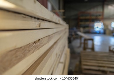 Cut wood in Lumber yard factory ready for Shipping