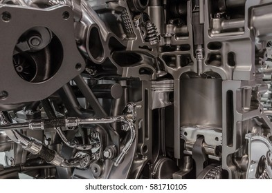 Cutaway of combustion engine