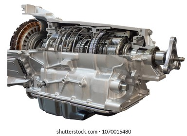 Cutaway transmission: clutch and gearbox of the truck showing inside