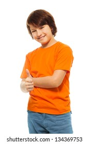 Cute 11 years old boy with thumbs up and smile, isolated on white