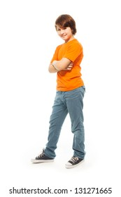 Cute 11 years old very confident boy isolated on white, full height portrait