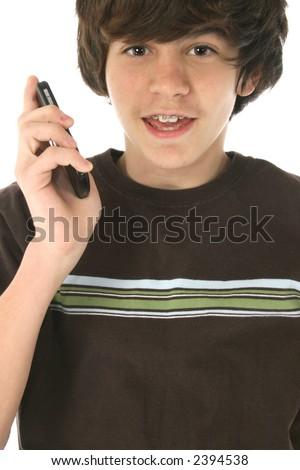 Cute 12 Year Old Boy Cellphone Stock Photo Edit Now 2394538