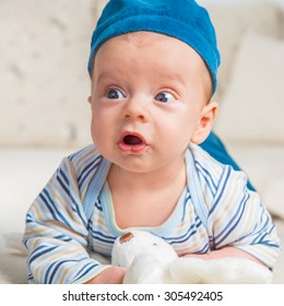 Cute 2 months old baby boy babbling.