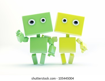 Cute 3d friends waving hand/Two robotic friends