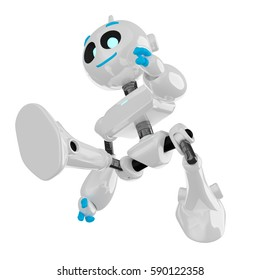 Cute 3D robot jumping, isolated on white background. 3D illustration.