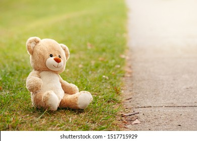 Cute adorable lost abandoned soft plush stuffed children toy teddy bear sitting on ground street road in park outdoor. Lost lonely toy outside. Concept of loneliness and depression.
