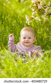 Image of: Photos Cute Adorable Nice Baby Girl In Green Grass Sitting Under Sakura Tree Shutterstock Cute Adorable Nice Baby Girl Green Stock Photo edit Now 403038724