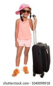 Cute african american girl carrying a travel suitcase - Isolated on white