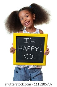 Cute african american girl laughing and holding a sign with a happy phrase - Isolated on white