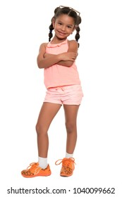 Cute african american girl standing with her arms crossed and smiling - Isolated on white