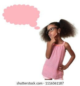 Cute african american small girl thinking - Isolated on white with a thought balloon