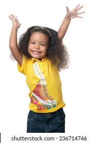 Cute african american small girl raising her arms above her head and laughing isolated on white