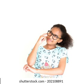 Cute African girl wear glasses thinking of somethings