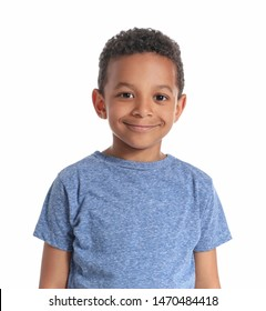 Cute African-American boy on white background