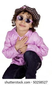Cute afro american girl wearing pink jacket and sunglasses