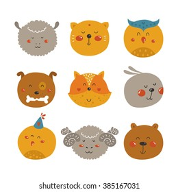 Cute Animal avatars, icon set. Set of Cartoon animals, cute baby animal in love. Animal face.Fox, rabbit, cat, merinos, bird, bear, dog, owl and sheep isolated on white background.
