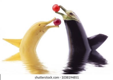 cute animated duet with a banana and a fish-shaped aubergine, isolated from the white background,