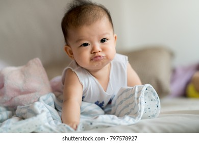 Cute asian baby close up