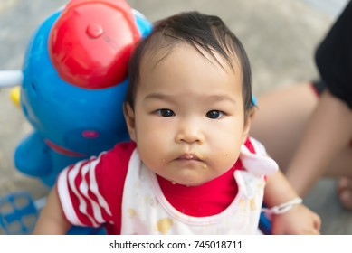 Cute asian baby girl eatting rice with mom,Thailand people,Time for foods