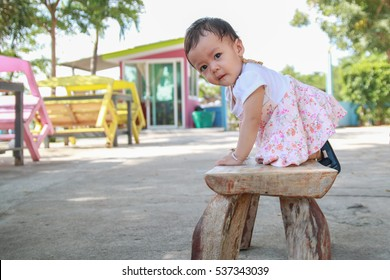 Cute asian baby girl in the morning
