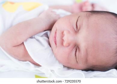 Cute asian baby newborn close up