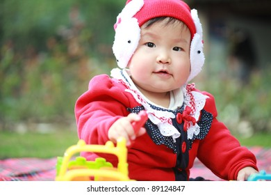 cute asian baby outdoor